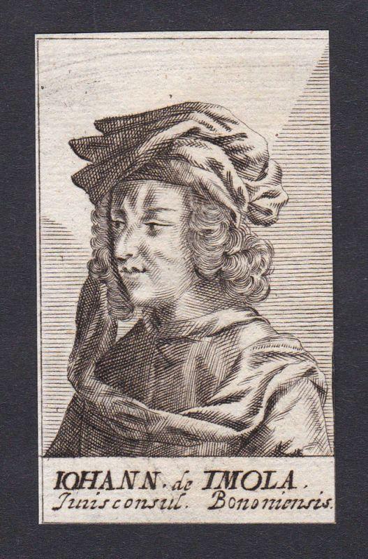 17. Jh. - Johannes de Imola / jurist Pavia Bologna Portrait Kupferstich