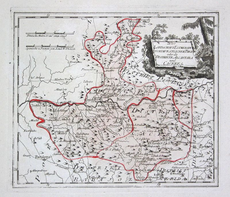 Spanien Spain Portugal Alcantara Extremadura map Reilly engraving Kupferstich