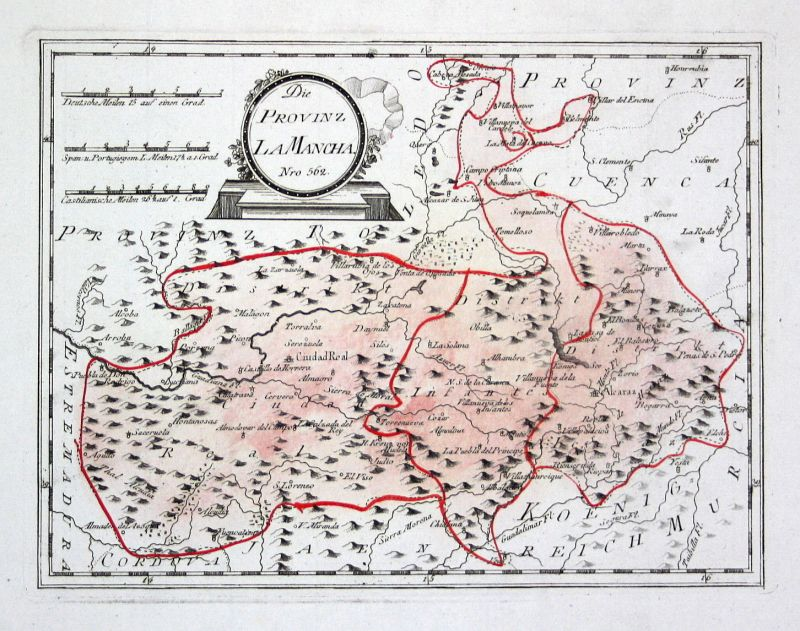 Spanien Spain Portugal Ciudad Real La Mancha map Reilly engraving Kupferstich