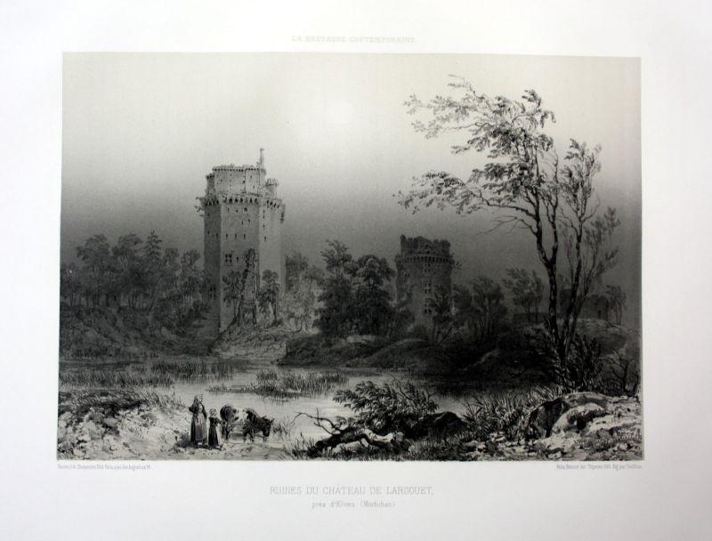 Ca. 1870 Forteresse de Largoet Bretagne France estampe Lithographie lithograph