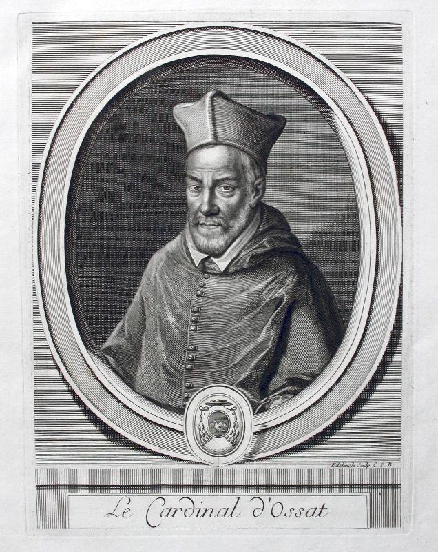 Arnaud Ossat Kardinal Cardinal Diplomat diplomate Portrait gravure ca. 1700