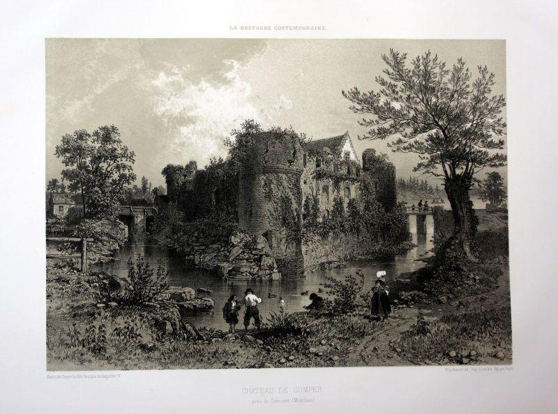 1870 Chateau de Comper Concoret Bretagne France estampe Lithographie lithograph