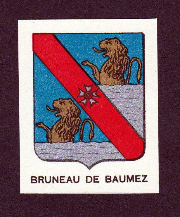 Ca. 1880 Bruneau de Beaumetz Baumez Wappen Adel coat of arms heraldry antique