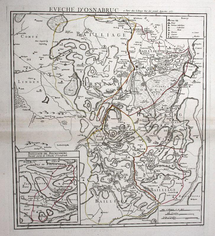 1757 Osnabrück Reckenberg Schlacht battle Karte map Kupferstich antique Le Rouge