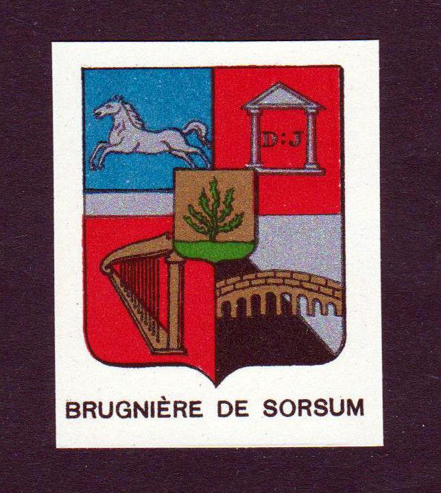 Ca.1880 Brugniere de Sorsum Wappen Adel coat of arms heraldry Lithographie print