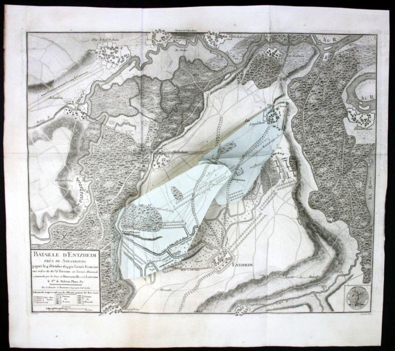 Ca. 1780 Bataille de Entzheim Alsace Elsass gravure Kupferstich Karte map