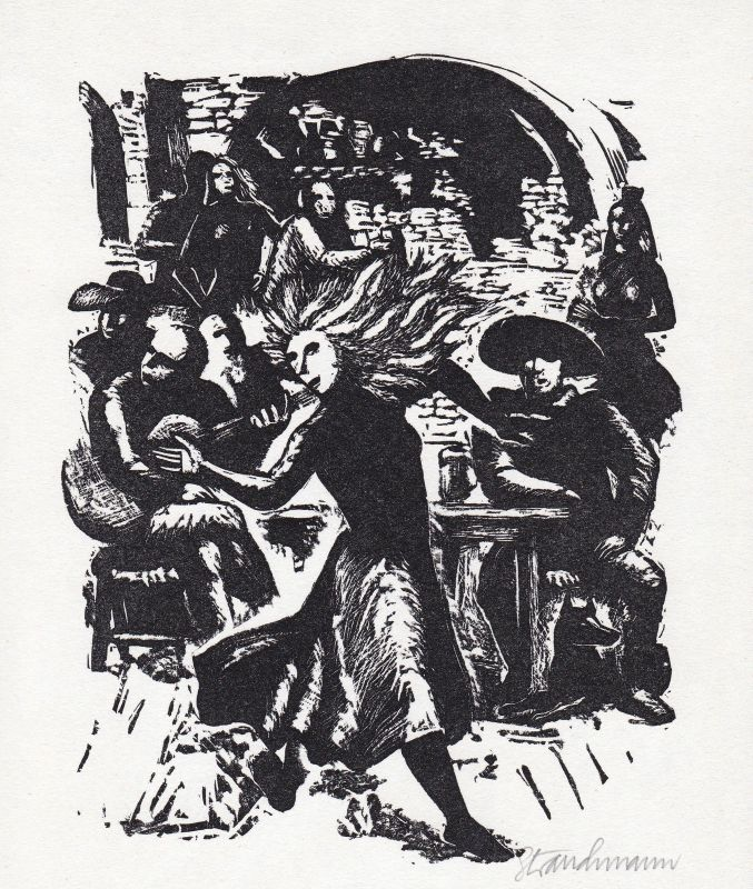 1990 Went Strauchmann Thornton Wilder Linolschnitt Brücke San Luis Rey signiert