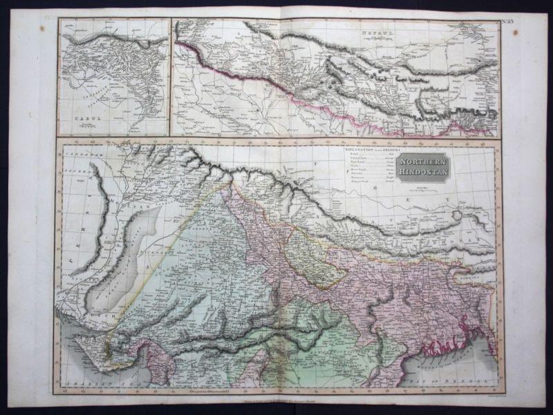 1817 Northern Hindoostan North India Indien map Karte Thomson Kupferstich