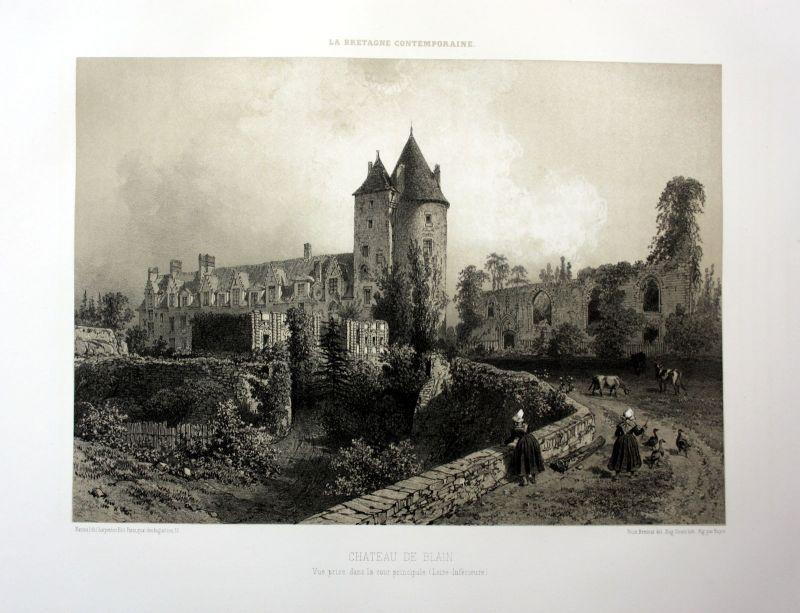 Ca. 1870 Chateau de Blain Loire Bretagne France estampe Lithographie lithograph