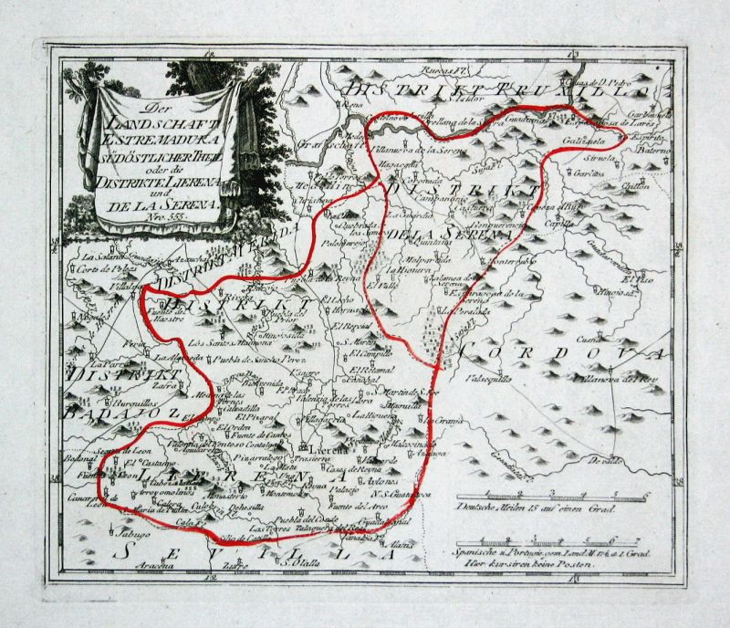Spanien Spain Portugal Extremadura Llerena map Reilly engraving Kupferstich