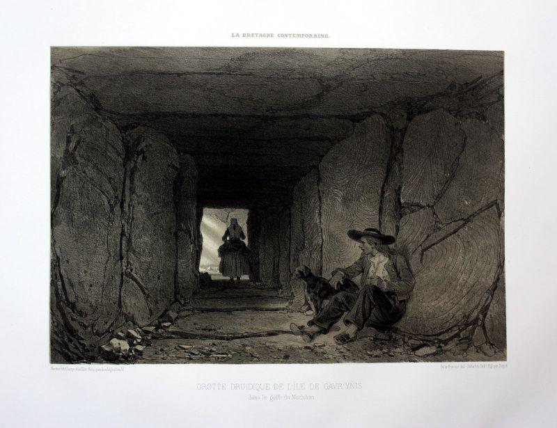 Ca. 1870 Gavrinis Caim Bretagne France estampe Lithographie lithograph