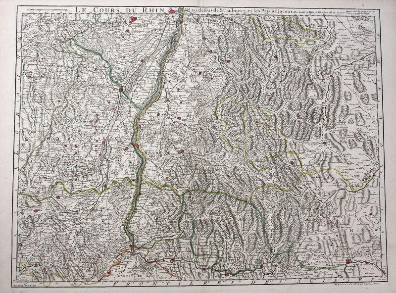 1789 Breisach am Rhein Strasbourg Kehl Basel Karte Kupferstich Delisle Buache
