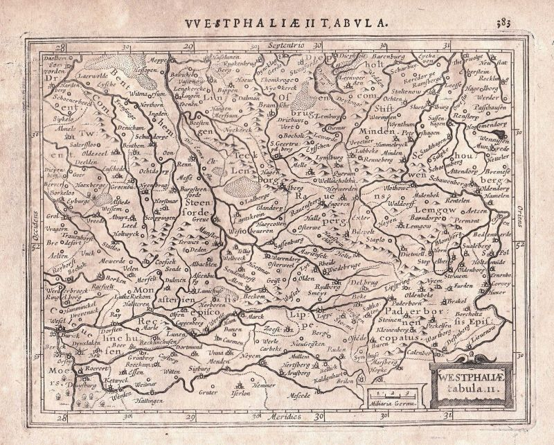 1628 Deutschland Germany Dortmund Westfalen Westphalia map Karte Mercator