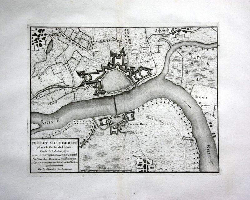 Ca. 1780 Rees Rhein Kupferstich Karte map