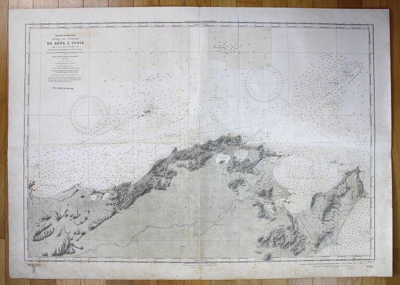 1939 Mediterranee Cotes de Tunisie - De Bone a Tunis Tunesien Tunisia map