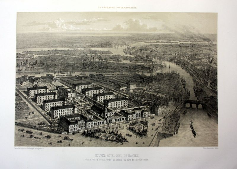 Ca. 1870 Hotel-Dieu de Nantes Bretagne France estampe Lithographie lithograph