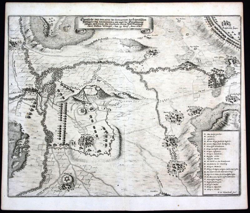 Ca. 1650 Amöneburg Schlacht Hessen Karte Plan Kupferstich antique print Merian
