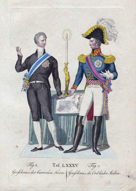 1820 Großkreuz Bayerische Krone / Sicilien Sizilien Sicilia Orden Kupferstich
