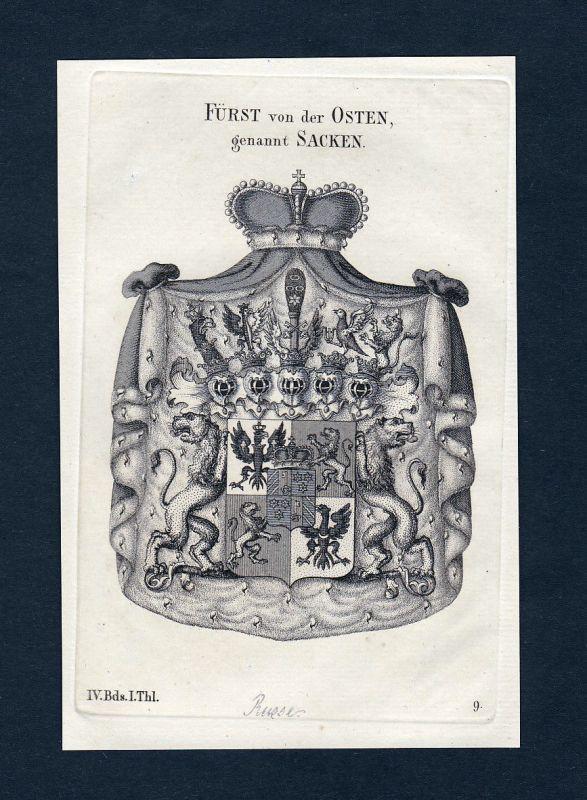1820 Osten Sacken Wappen Adel coat of arms Heraldik Kupferstich engraving