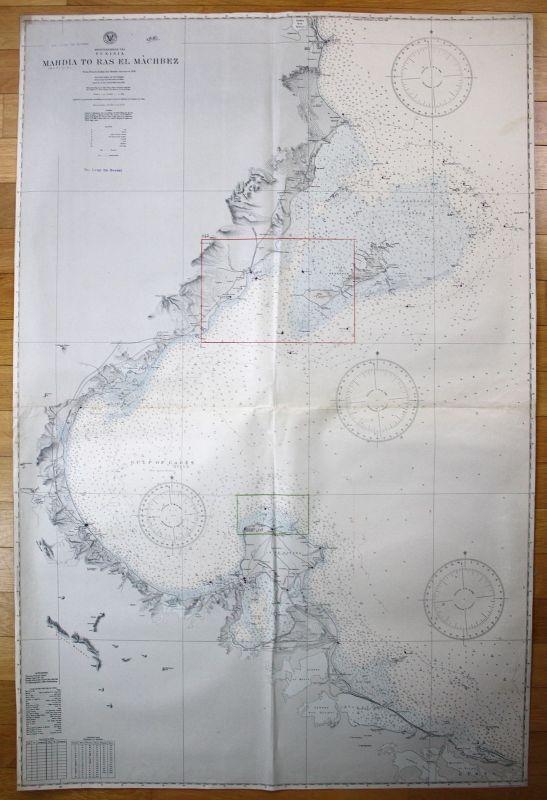 1935 Mediterranean Sea - Tunisia - Mahdia to Ras El Machbez Tunesien map