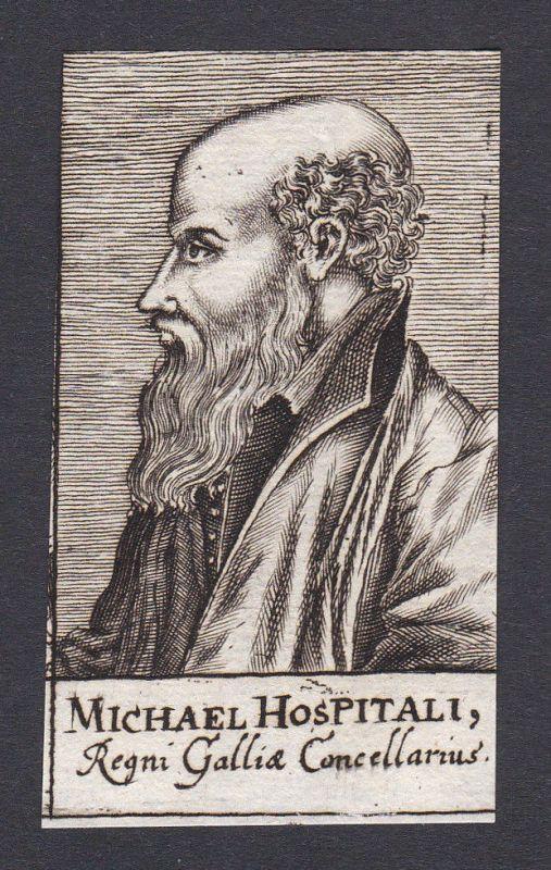 17. Jh. - Michel de l`Hopital / jurist Jurist Auvergne Portrait Kupferstich