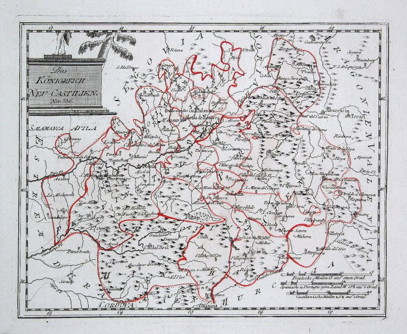 Spanien Spain Portugal Kastilien La Mancha map Reilly engraving Kupferstich