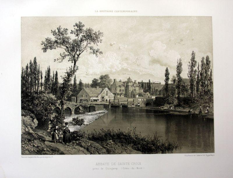 Ca. 1870 Abbaye Sainte-Croix de Guingamp Bretagne France estampe Lithographie