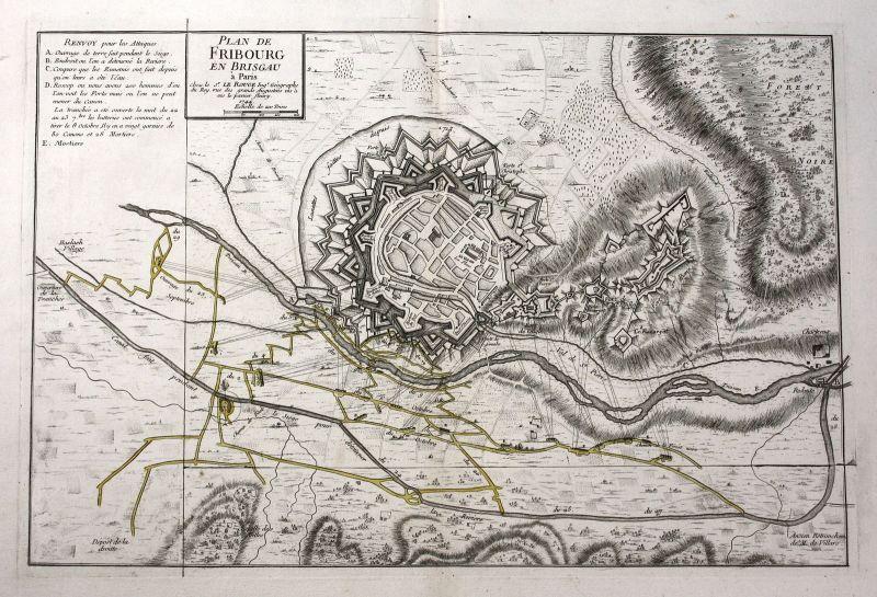 1744 Freiburg im Breisgau Schlacht battle Karte map Kupferstich antique Le Rouge