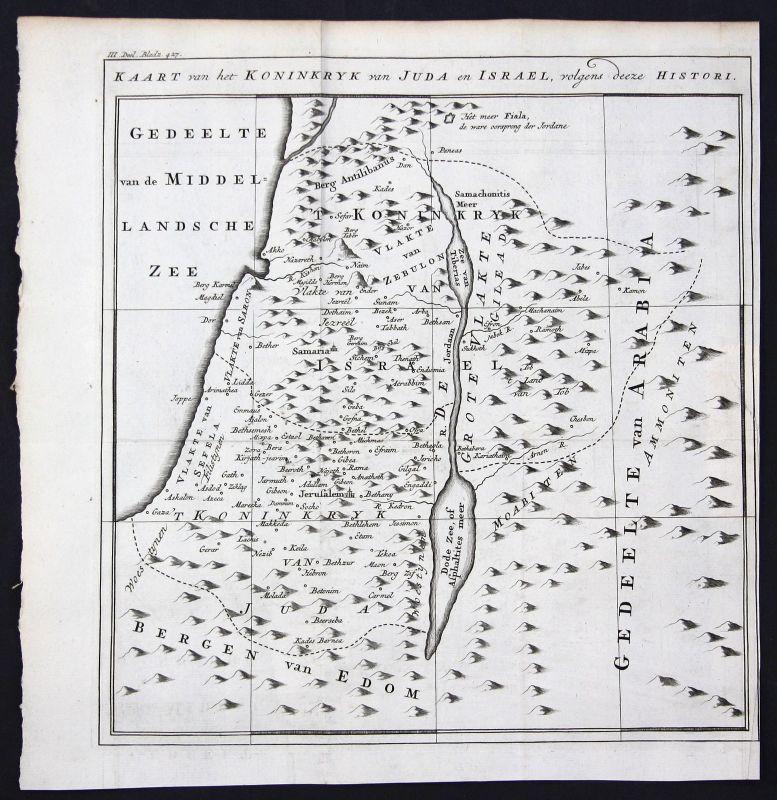 18. Jh. Israel Holy Land Heiliges Land Karte map Kupferstich antique print