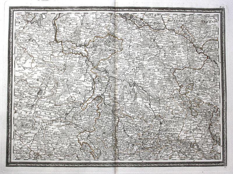 Ca. 1780 Norddeutschland Hannover Hamburg Bremen Braunschweig Minden Karte