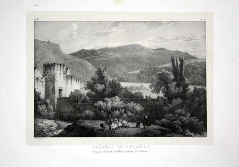 1824 Zwingen Schloss Kanton Basel - Schweiz Suisse Lithographie Villeneuve.