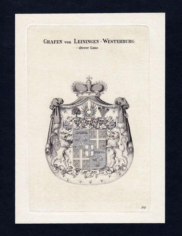 1820 Leiningen Westerburg Wappen Adel coat of arms Kupferstich engraving