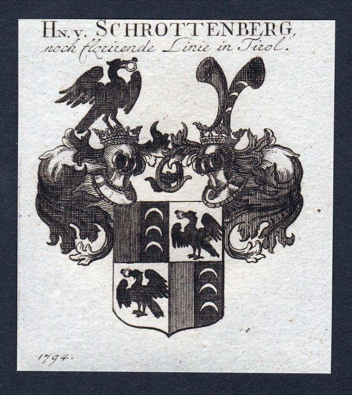 1820 Schrottenberg Schrattenberger Franken Wappen Adel coat of arms engra 142660