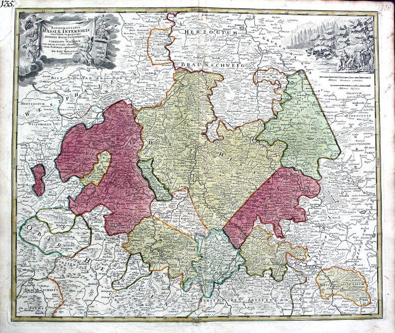Ca. 1720 Hessen Kassel Paderborn Karte map Kupferstich antique print Homann