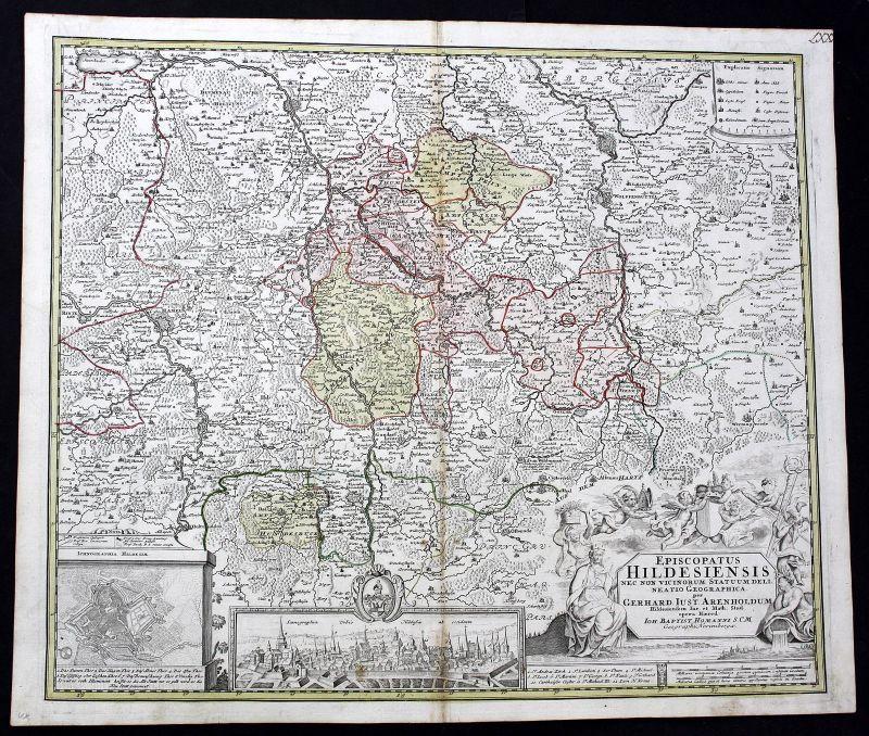 Ca. 1720 Hildesheim Hannover Einbeck Karte map Kupferstich antique print  157853