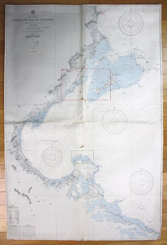 1935 Mediterranean Sea Tunisia Mahdia to Ras El Machbez Tunesien map