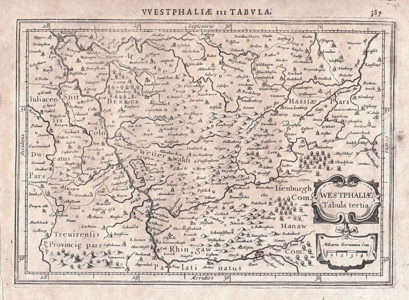 1628 Köln Cologne Deutschland Germany Westfalen Westphalia map Karte Mercator