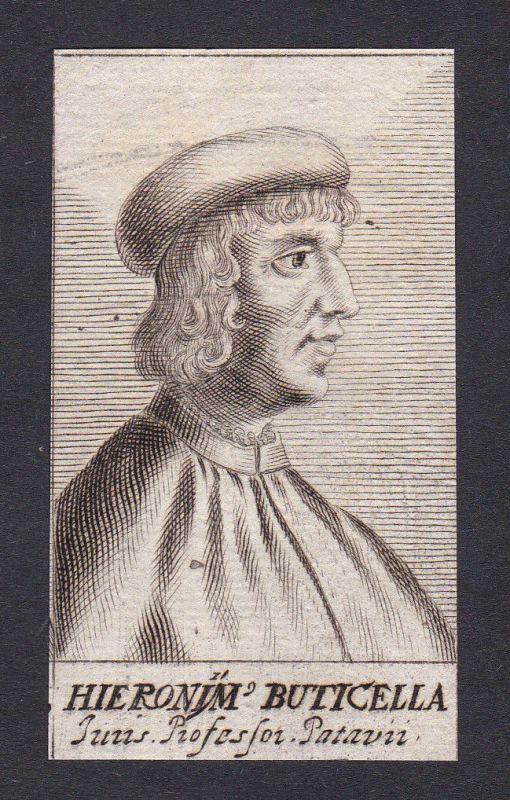 17. Jh. - Hieronymus Buticella / jurist professor Padova Portrait Kupferstich