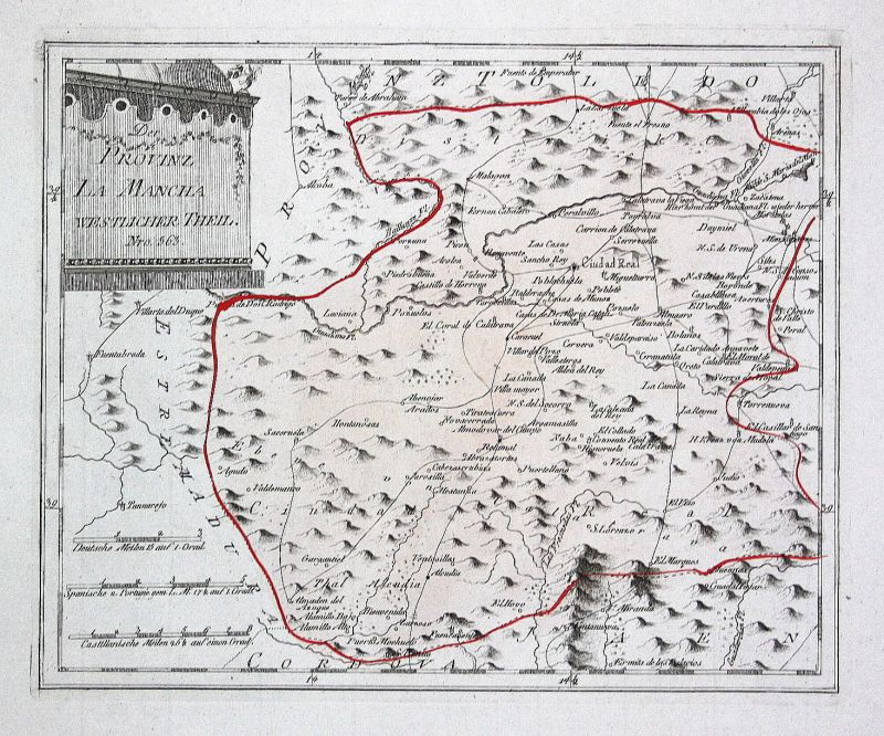 Spanien Spain Portugal La Mancha Ciudad Real map Reilly engraving Kupferstich