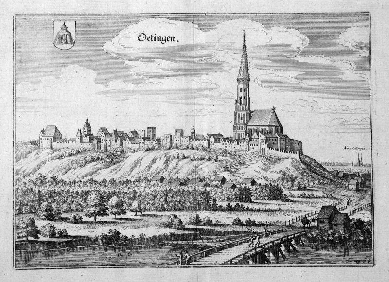1650 Oettingen Neuötting Altötting Bayern Ansicht view Gesamtansicht Kupferstich