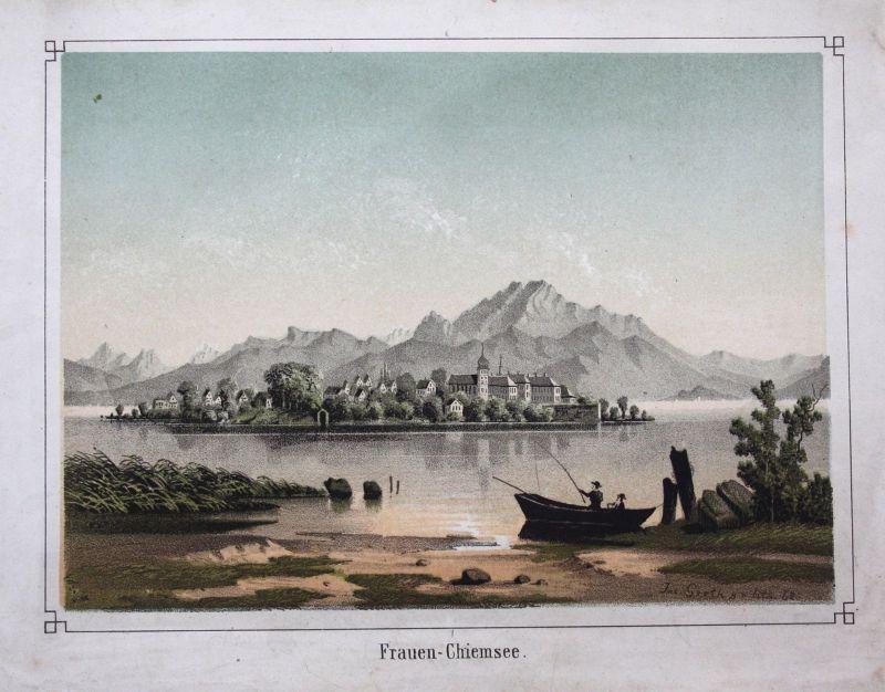1862 Frauenchiemsee Fraueninsel Chiemsee Lithographie koloriert