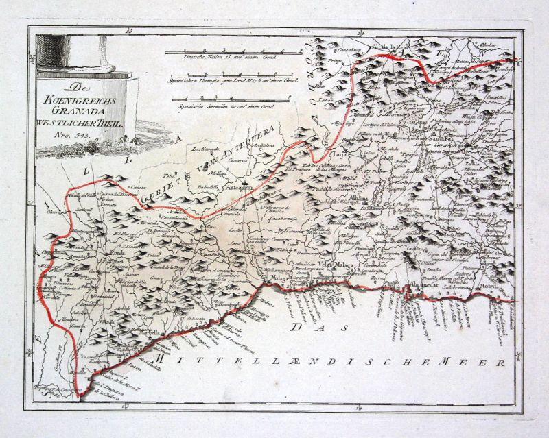 Spanien Spain Portugal Alhama de Granada map Karte Reilly engraving Kupferstich
