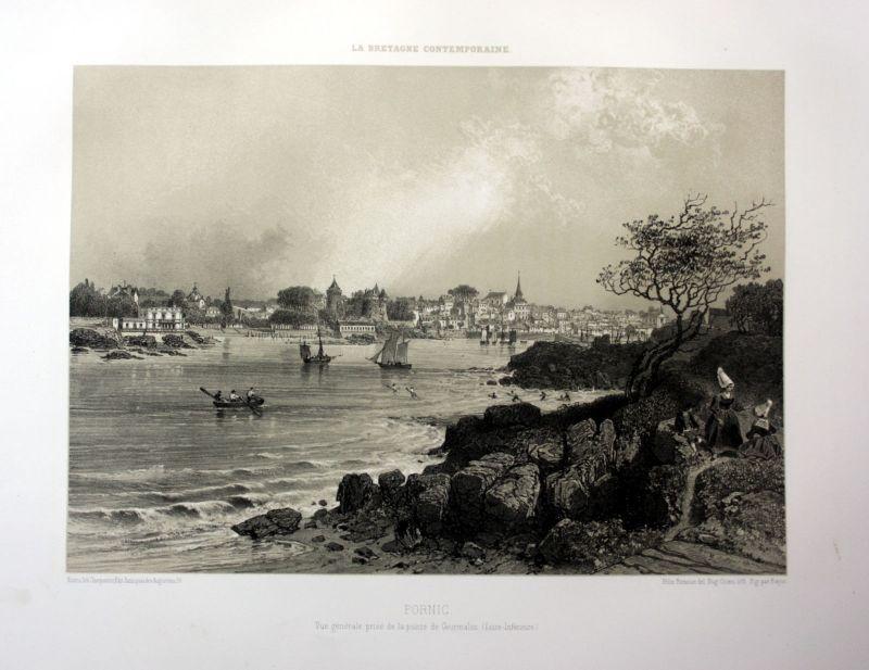 Ca. 1870 Pornic port  Hafen vue Bretagne France estampe Lithographie lithograph