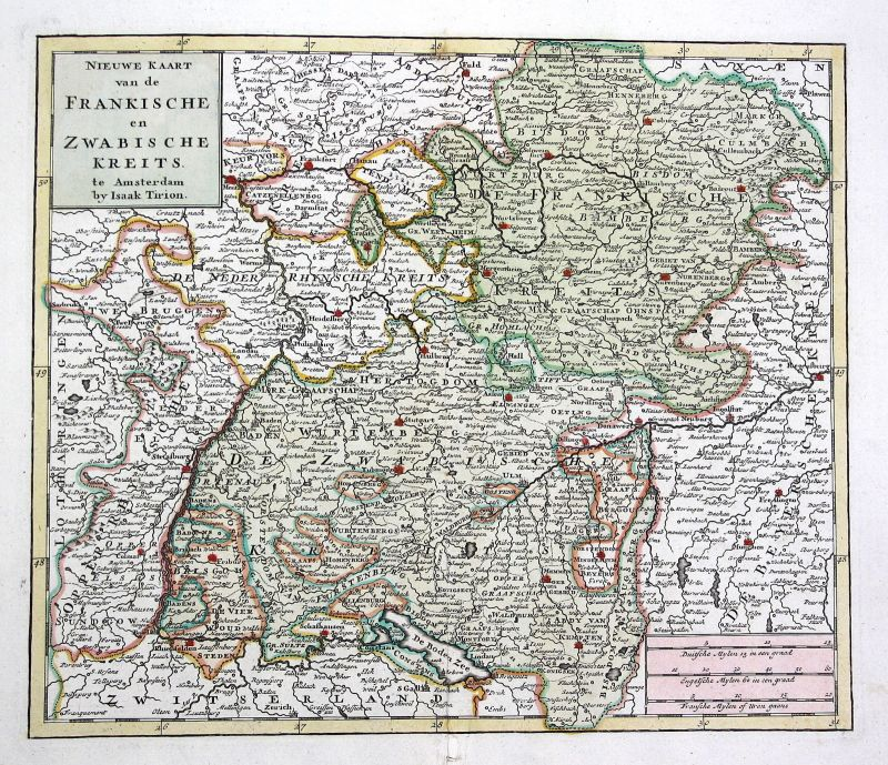 Um 1830 Stuttgart München Bodensee Heilbronn Frankfurt Fulda Nürnberg Karte map