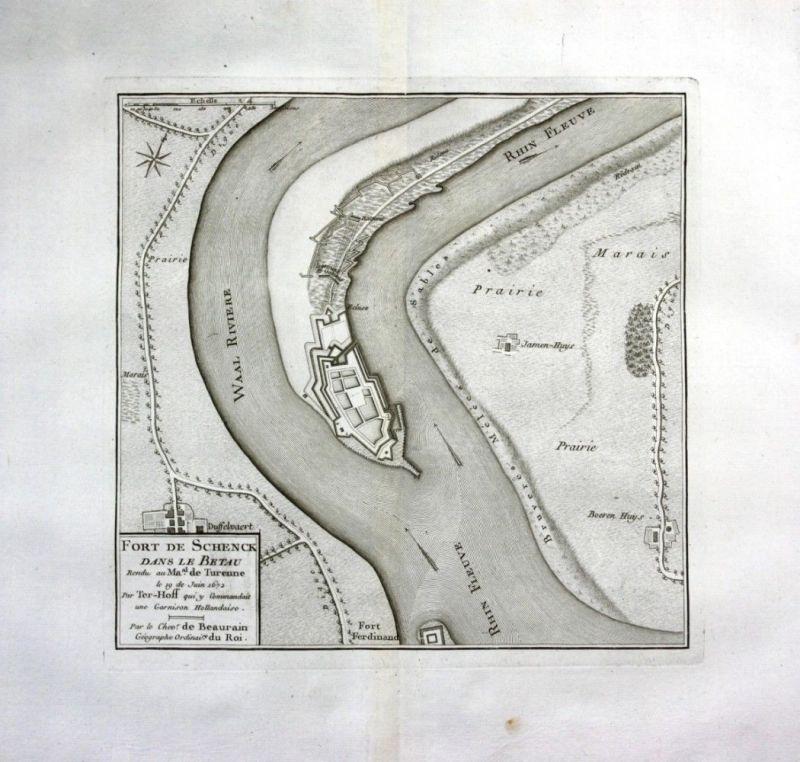 Ca. 1780 Schenkenschanz Kleve Rhein Waal Kupferstich Karte map