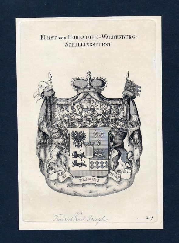 1820 Hohenlohe Waldenburg Wappen Adel coat of arms Kupferstich engraving