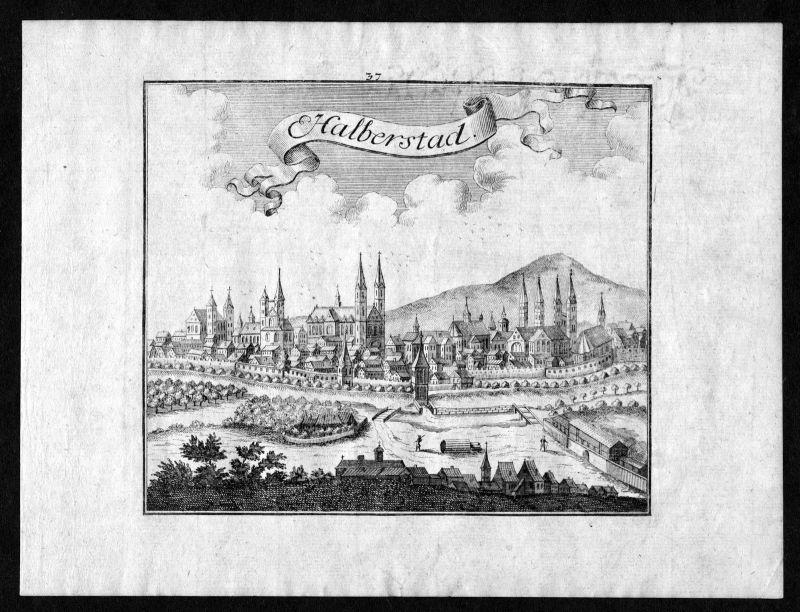 1746 Halberstadt Sachsen-Anhalt Ansicht view Kupferstich antique print