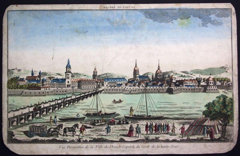 1790 Dresden Panorama Gesamtansicht Guckkastenblatt Kupferstich engraving