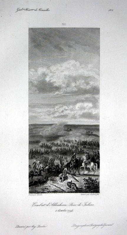Ca. 1840 Aldenhoven Schlacht Ansicht vue estampe Stahlstich antique print