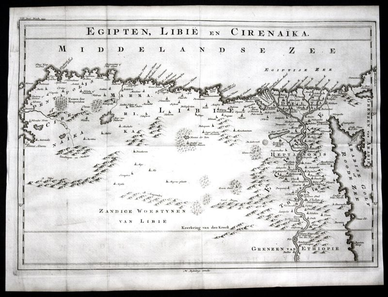 18. Jh. Ägypten Egypt Libyen Libya Nil Nile River Karte map Kupferstich